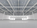 New modern empty storehouse huge light Royalty Free Stock Images