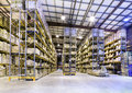 New and modern warehouse interior of large space Stock Photos