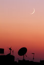 The new moon or crescent during sunset in ramadan month in egypt in africa Royalty Free Stock Photo