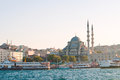 New mosque on sunset. Istanbul. Turkey Stock Photos