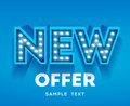 New offer sign. Retro light signboard banner with glowing bulbs