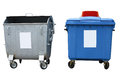 New and old garbage containers isolated over white background Royalty Free Stock Photo