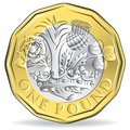 New one pound coin isolated Royalty Free Stock Photo