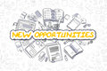 New Opportunities - Cartoon Yellow Word. Business Concept.