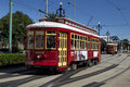 New orleans cable car the famous on canal street near the riverfront Royalty Free Stock Images