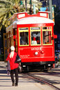 New Orleans Canal Line Street Car Rider Stock Photography