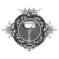 New Orleans Cocktail Coupe Glass Fleur de Lis Design Royalty Free Stock Photo