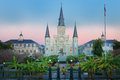 New orleans jackson square sunrise the sun rose upon in la while the city was dressed up for the holidays Royalty Free Stock Photo