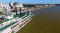 NEW ORLEANS, LA - FEBRUARY 9: Aerial view of riverboat Natchez d Royalty Free Stock Photo
