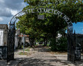 New orleans lafayette cemetery gate above ground tombs Royalty Free Stock Image