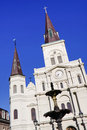 New Orleans St Louis Cathedral and Fountain Stock Photo