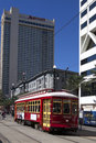New orlenas cable car the famous on canal street near the riverfront Stock Photo