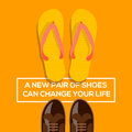 New pair of shoes can change your life concept choices a vector eps illustration Stock Image