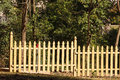 New Pine Fence by Trees Royalty Free Stock Photos