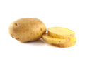 New potato with slices on white background Stock Image