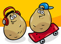 New potatoes potatoes cartoon illustration of funny comic young or vegetable food characters Stock Photography