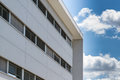 New prefabricated office building with white facade Royalty Free Stock Image