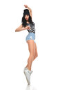 New pretty modern slim hip-hop style teenage girl dancer dancing Royalty Free Stock Photo