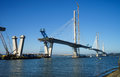 The new Queensferry Crossing Bridge under construction, seen from Port Edgar Edinburgh, Scotland. Royalty Free Stock Photo
