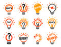 New question mark symbols, flat bright cartoon bulbs. White and orange colors sign. Stylized set of vector lightbulbs