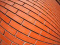 New red brick wall with distortion lens and wide angle fisheye view Royalty Free Stock Photography