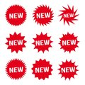 New Red Button and White Text Icon Signs Set Vector Royalty Free Stock Photo