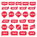 New red labels. Modern accent, new shop promotion stickers. Vector set