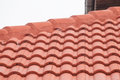 New red roof with tiles detail Stock Photo