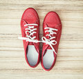 New red women's leather shoes, beauty and fashion Royalty Free Stock Photo
