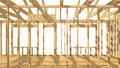 New residential construction home wood framing. Royalty Free Stock Photo