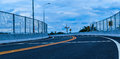 The new road across the railroad,beautiful curve with the steel Royalty Free Stock Photo