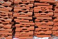 New roof pile tiles in stock building materials Stock Photo