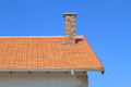 New rooftop and chimney under blue sky Royalty Free Stock Photography