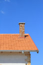 New rooftop and chimney under blue sky Royalty Free Stock Image