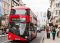 The new routemaster bus in london uk circa june driving on piccadilly Stock Images
