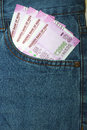 New 2000 rupee notes in an Indian mans jean front pocket. Royalty Free Stock Photo