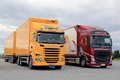 New Scania and Volvo Transport Trucks Parked