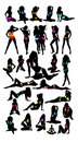 New set bikini Girls silhouette-vector Royalty Free Stock Image