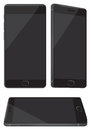 New Shiny Black Mobile Phone Isolated on White Royalty Free Stock Photo