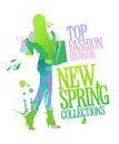 New spring collections design with shopping woman. Stock Image