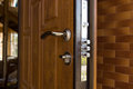 New steel three bolt door lock Royalty Free Stock Photo