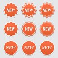 New sticker set. Vector sale banner for web store. Product stickers with offer. Promotional corner located element. Color splash l Royalty Free Stock Photo