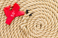New strong rope with red marker for a tug of war Royalty Free Stock Photo