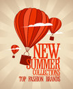 New summer collections design template with balloons carrying shopping bags Stock Image