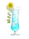 New summer margarita cocktail drink or blue hawaiian with lime mint decorated flower isolated on a white background Royalty Free Stock Images