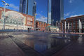 The new sundance square in fort worth texas view of with fountains and umbrellas on a sunny day Royalty Free Stock Image
