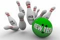 New Tech Vs Beats Old Technology Bowling Ball Strike Royalty Free Stock Photo