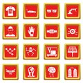 New technologies icons set red