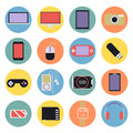 New technology digital multimedia icons set flat design Stock Photos