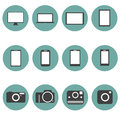 New technology multimedia icons set trendy style f flat design in vector Stock Photo